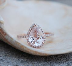 Peach champagne Sapphire Engagement Ring 14k Rose by EidelPrecious