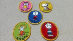 Vintage 1970s Peanuts patches. Complete Set of 5. Charlie Brown, Linus, Snoopy, Lucy, and Sally