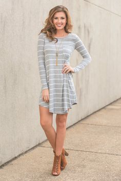 """Fab Finds Dress, Heather Gray"" Lucky you! You have found our fave fab little dress in a new color! It's perfect fall color and casual fit are sure to be a great addition to your already fashionable wardrobe! #newarrivals #shopthemint"