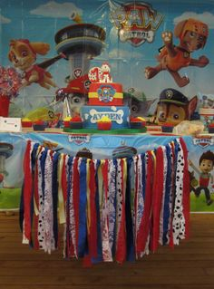 Paw Patrol Inspired Cake Table Garland by JSCCreativeDesigns Paw Patrol Theme Party, Paw Patrol Cake, Paw Patrol Birthday, 4th Birthday Parties, Birthday Ideas, Birthday Traditions, Baby Boy First Birthday, Birthday Numbers, Birthday Decorations
