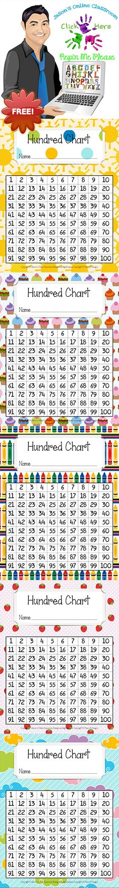 FREEBIE hundred chart in 28 different styles including basic black and white. Helpful for students in elementary level mathematics classes. Show us some LOVE with a nice comment/feedback at our store! Math Classroom, Kindergarten Math, Teaching Math, Cardinal Numbers, Math Activities, Teacher Resources, Hundreds Chart, 100 Chart, Early Math