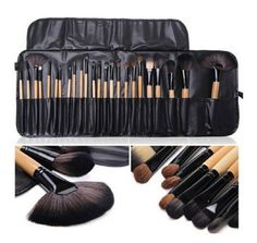 LyDia® UK STOCK Professional 24pcs Natural Wooden handle Black/brown Make Up Brush Set with Case