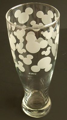 Disney Mickey Mouse Head Ears Etched Pilsner Beer Glass