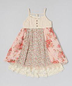 Look at this #zulilyfind! Pink & Blue Floral Tank Dress - Toddler #zulilyfinds