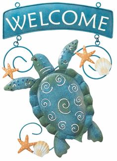 Sea Turtle Welcome Sign only $26.99 at Garden Fun - Welcome Signs