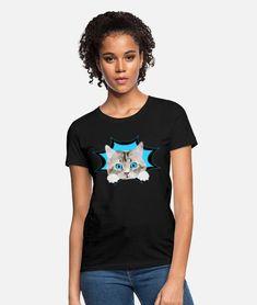Cute baby kitten cat kitty Women's T-Shirt | Spreadshirt Süßes Baby Kätzchen, Katze guckt raus. Schönes Design für Katzenbesitzer, Katzen Freunde und Katzen Liebhaber. Schreib etwas dazu und erzeuge so ein persönliches Geschenk. Mein Herz sagt miau. Kittens Cutest Baby, Cats And Kittens, I Love Mom, Hoodie Dress, How To Roll Sleeves, Cat Gifts, Sport T Shirt, Fabric Weights, Crew Neck Sweatshirt
