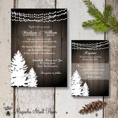 Winter Wedding Invitation, Printable Christmas Wedding Invitation, Rustic Holiday Wedding Invitation, Pine Trees and Strings of Lights