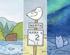 Alaska Animals Print Set 5x7 watercolor by studiotuesday on Etsy