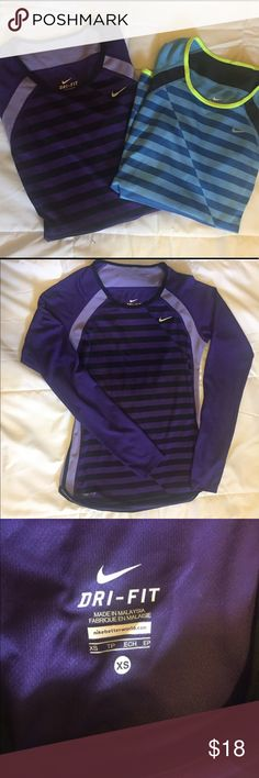 Long sleeve Nike Dri Fit workout tops! XS Two, yes TWO Nike Dri Fit tops!  Both XS  One is purple and black with light purple detailing and the other has blue stripes with a neon yellow piping detail.  No tears, rips, or stains. Excellent condition! Nike Tops Tees - Long Sleeve