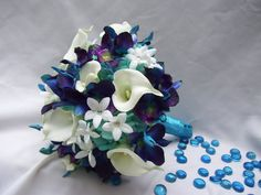 Becca's Bridal Bouquet with White Calla Lilies, Aqua Hydrangeas, Crystals,Blue Dendrobuim Orchids