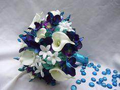 Becca's Bridal Bouquet with White Calla Lilies, Aqua Hydrangeas, Crystals,Blue Dendrobuim Orchids