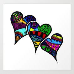 Three Hearts Zentangle Art Print by Wealie - $15.00