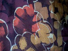abstract flower vintage kimono fabric - purple, peach & ochre