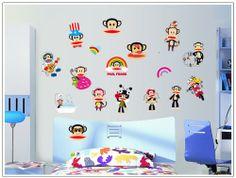 Magic Decals Paul Frank Wall Sticker Monkey DIY Wall Decal Decor Stickers