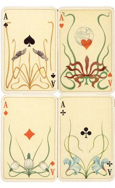 Otto Tragy, illustration for a card deck, Whist No 260, 1898. Altenburger Spielkartenfabrik, Germany. The deck remained successful until late in the 1920s.