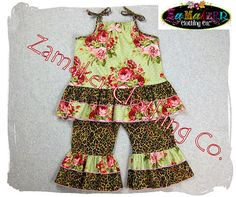 Leopard and floral Outfit Set  by ZamakerrClothingCo, 44.99