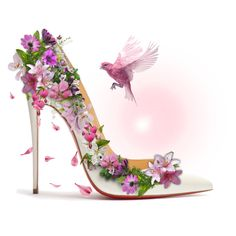 Designer Clothes, Shoes & Bags for Women Shoe Tattoos, Sparkle Shoes, Flower Shoes, Fashion Art, Fashion Design, Shoe Art, Pictures To Draw, Fashion Sketches, Art Girl