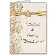 """Elegant white lace, ribbon and flower on burlap wedding Thank You photo note card featuring white lace on linen natural burlap or hessian with two crossed satin ribbons and flower in beige with metallic shine and a white jewel. Your photo is on the left inside. Text in brown. Note that lace, burlap, flower and jewel are all """"printed on"""" and not real fabric, gem or crystal."""
