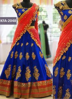 Mahi Fashion ~ Products ~ Latest Designer Blue and Red Georgette Half Saree Bridal Lehenga Choli ~ Shopify Half Saree Lehenga, Lehenga Blouse, Bridal Lehenga Choli, Silk Lehenga, Saree Dress, Anarkali, Yellow Lehenga, Bollywood Lehenga, Lehenga Skirt
