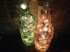 Handmade Glass Gem Stone Wine Bottle Light for $15.00 (lowest price on Etsy for this type of wine light!!)