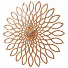 Karlsson Wood Sunflower Clock - wooden decorative wall clock