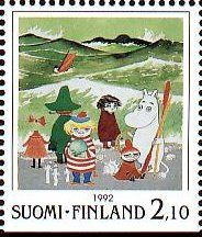 FINLAND - CIRCA A stamp printed in Finland shows Moomin Cartoon Characters, by Tove Jansson: Characters on beach, circa 1992 Moomin Cartoon, Tove Jansson, Heart Pictures, Stamp Printing, Postage Stamps, Cartoon Characters, Finland, Fine Art America, Fairy Tales
