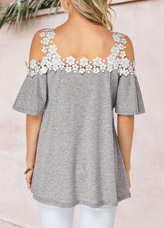Grey Shop Womens Fashion Tops, Blouses, T Shirts, Knitwear Online Trendy Tops For Women, Blouses For Women, 60 Fashion, Fashion Outfits, Womens Fashion, Iranian Women Fashion, Cold Shoulder Blouse, Latest Dress, Lace Detail