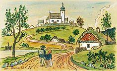 Cesta ze školy, 1937 | 23 × 37 cm Naive, European Countries, Czech Republic, Illustrators, Folk Art, Image Search, Tourism, Nostalgia, Painting Art