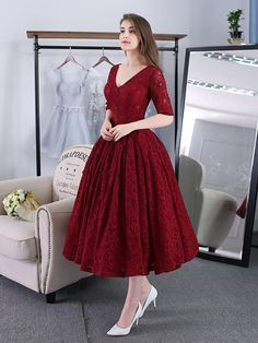 Burgundy Short Prom Dresses 2020 Lace Tea-Length Half Sleeves Corset Back Homecoming Dresses Formal Party Dress Robe De Soiree - Afrodita Fashion Tea Length Bridesmaid Dresses, Prom Dresses With Sleeves, Tea Length Dresses, Knee Length Skirts, Midi Dresses, Dresses Uk, Dresses Elegant, Lace Evening Dresses, Trendy Dresses