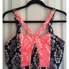 Aztec Strappy Top + High Waisted Short Bundle Super vibrant and in great condition! Last image shows natural lighting and vibrancy of the color. Not to confuse but It is a HIGHLIGHTER PINK color- And Navy Blue. Perfect for the upcoming Summer! Large top (Top runs smaller ..True medium) and medium bottom. Other
