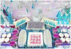 What a great candy display at a Frozen party!  See more party ideas at CatchMyParty.com!  #partyideas #frozen