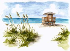 """""""Lido Lifeguard Station"""" A 8"""" x 10"""" print of original watercolor matted to standard, finish size of 11"""" x 14"""" backed with foamcore  Larger sizes are available, just ask! (matted or not)  (If you would like us to frame it, we can always do that in a variety of frames as well, just convo me fo..."""