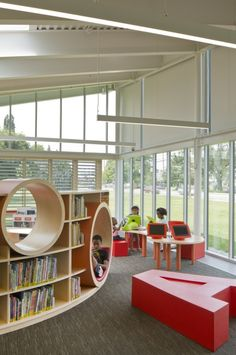 Image 6 of 23 from gallery of Whitehall Library / Jonathan Barnes Architecture and Design. Photograph by Brad Feinknopf Public Library Design, School Library Design, Kids Library, Classroom Architecture, Library Architecture, Interior Architecture, Kindergarten Interior, Kindergarten Design, Modern Contemporary Living Room
