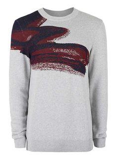 PREMIUM Grey Paint Splash Print Viscose Rich Jumper - Men s Jumpers    Cardigans - Clothing 6bce6f9f24
