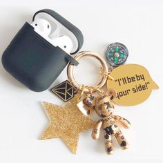 BOMGOMゴールドピースミニキーホルダー(airpodsケース付き) Technology, Personalized Items, Phone, Rings, Tech, Telephone, Ring, Tecnologia, Jewelry Rings