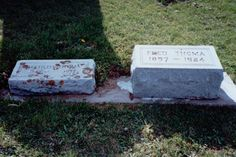Grave of Mathilda Thoma (1857-1947) and Fred Thoma (1857-1924), Garnavillo Old Town Cemetery, Garnavillo, Clayton County, Iowa; image date unknown, privately held by Melanie Frick, 2015. ##genealogy