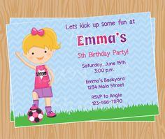 Cute Girl Soccer Birthday Invitations