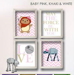 Baby Girl Star Wars Ewok Nursery Art Girl's Room by StarWarsPrintShop, $34.00