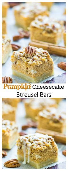 These Pumpkin Cheesecake Streusel Bars are the perfect Fall treat. Creamy pumpkin cheesecake atop a buttery shortbread crust and then topped with a cinnamon pecan streusel topping.