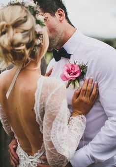 Love husband wife bride groom kiss wedding dress gown flowers lace crown sleeves open back pink rose tux pattern