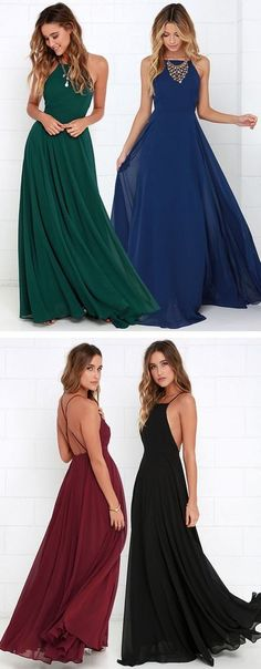 New A-line Chiffon Prom Dresses, backless Spaghetti Straps Formal Women Dress H01407