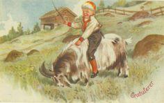 Gratulasjonskort Gutt rir på geit (Nils og Blåmann)? Erling Nielsen 1940-tallet Norsk arbeide