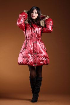 Nylons, I Miss Her, Puffy Jacket, Down Coat, Asian Woman, High Neck Dress, Leather Jacket, Fur, Sexy
