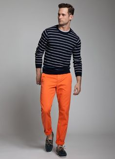 Navy and Cream Striped Cotton Sweater, Orange Chinos, and Loafers. Men's Spring/Summer Fashion.