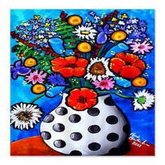 Bright Fun Flowers Folk Art Whimsical Colorful Bathroom Shower Curtain