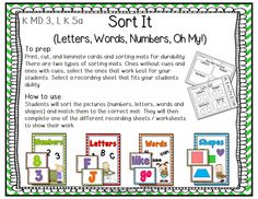 "Back to School Centers for Kindergarten Common Core Aligned. Over 160 pages of Back to School themed centers for Kindergarten. 6 math and 6 reading activities (most can be used in multiple ways). Includes Kinder friendly ""I Can"" display mats for all activities with common core standards listed on them."