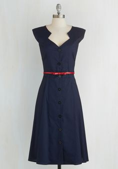 Knack for Numbers Dress in Navy - Blue, Solid, Buttons, Belted, Casual, A-line, Cap Sleeves, Good, Woven, Vintage Inspired, 40s, Shirt Dress, Nautical, Long, Work