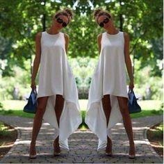 Women Sexy Sleeveless White Asymetrical Hem Loose Chiffon Beach Summer Long Dress Casual 2015 Hot Freeshipping