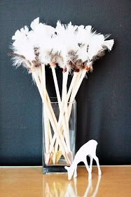 DIY arrows with dowel rods, feathers, embroidery floss, wooden arrow heads and glue!