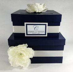 Wedding Card Box 2 Tier Navy Blue by MadisonMayDesigns on Etsy Card Box Wedding, Wedding Guest Book, Diy Wedding, Wedding 2015, Wedding Ideas, Blue Bouquet, Orange Wedding, Monogram Design, Nautical Wedding